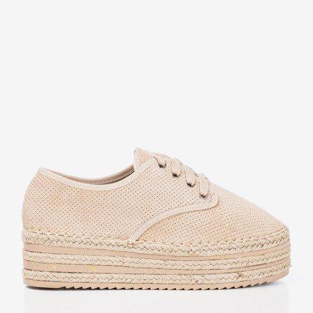 Бежеве ажурне взуття на платформі Harness - Взуття 1
