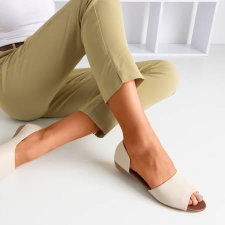 Бежеві жіночі босоніжки на низькому клині Damola - Взуття 1