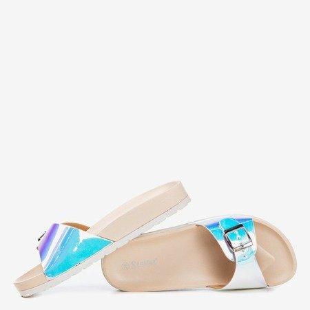 Бежеві тапочки з голографічним покриттям Sabia - Взуття