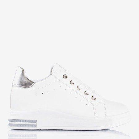 Біле спортивне взуття на закритому клині із срібними вставками Sliomena - Взуття 1