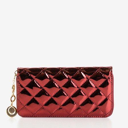 Великий бордовий жіночий гаманець зі стьобаним покриттям - Гаманець