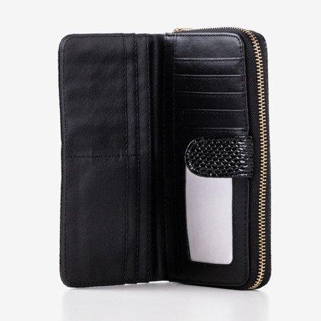 Великий чорний гаманець зі штучної шкіри зі стьобаним покриттям - Гаманець