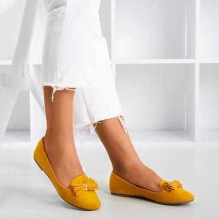 Гірчичні балерини з оздобленням в стилі фрерлі - Взуття