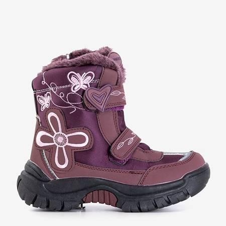 Дівчачі фіолетові снігові черевики з нашивками Йоміко - Взуття