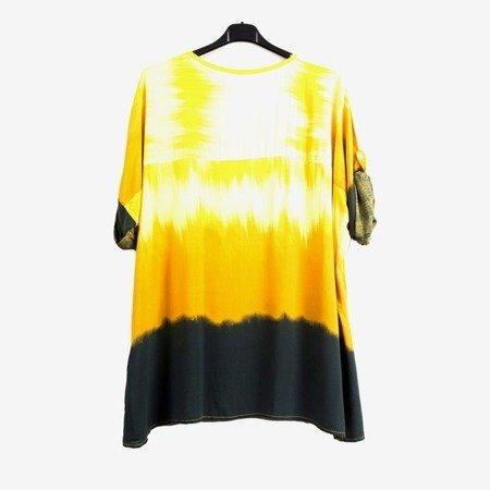 Жовта жіноча туніка із срібними написами - Блуза 1