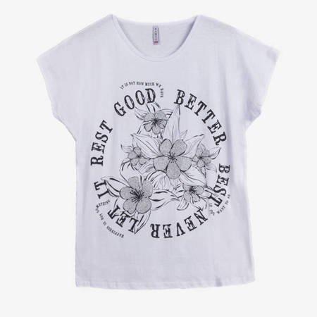 Жіноча біла футболка з квітковим принтом - Одяг