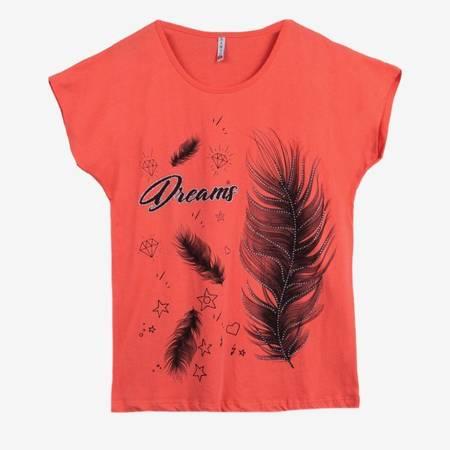 Жіноча коралова футболка з принтом - Одяг 1