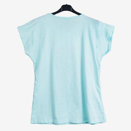 Жіноча м'ятна квіткова футболка з написами - Блузки 1