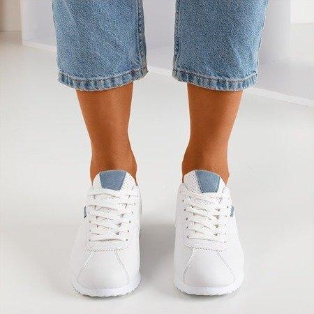 Жіноче біле спортивне взуття з блакитними вставками Dramena - Взуття