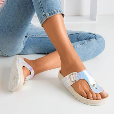 Жіночі бежеві голографічні сандалії з пряжкою Manila - Взуття