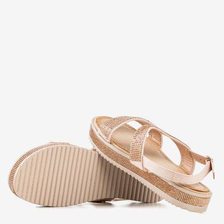 Жіночі босоніжки з рожевого золота з цирконами Arella - Взуття 1