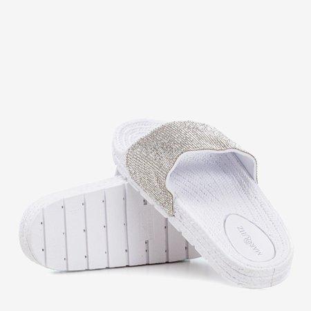 Жіночі білі тапочки з фіанітом Blink Blink - Взуття