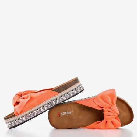 Жіночі коралові шльопанці з бантом Kordesa - Взуття 1