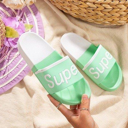 Жіночі тапочки в м`ятному кольорі з написом Super - Взуття