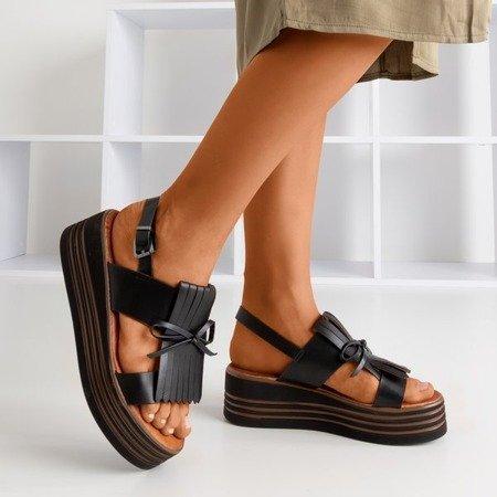 Жіночі чорні босоніжки на платформі Gumessa - Взуття