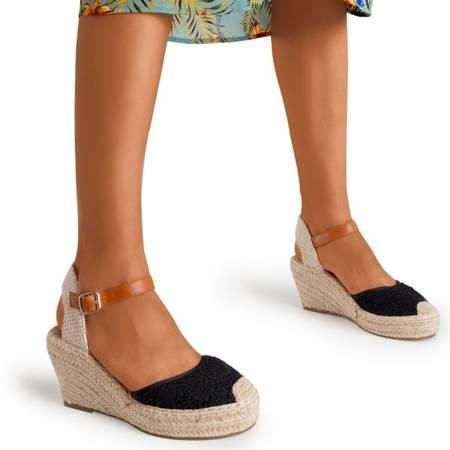 Жіночі чорні босоніжки на підборах a'la espadrilles Oslape - Взуття