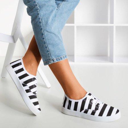 Жіночі чорні кросівки в полоску з черепашкою - Взуття