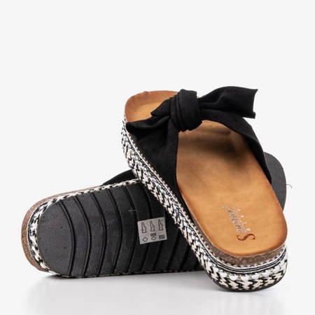 Жіночі чорні тапочки з бантом Kordes - Взуття