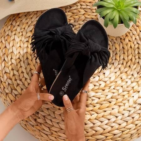 Жіночі чорні тапочки з бахромою Amassa - Взуття