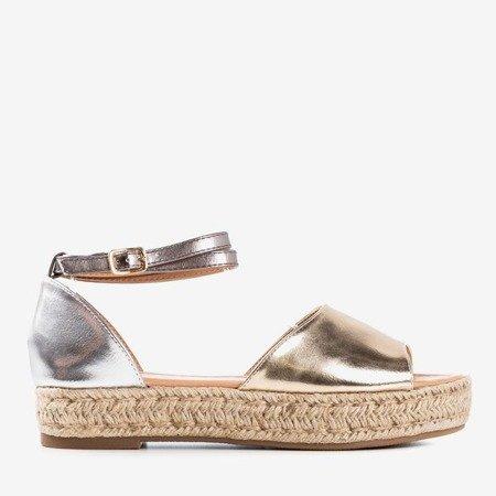 Золоті срібні жіночі босоніжки a'la espadrilles Істинно Ваші - Взуття 1