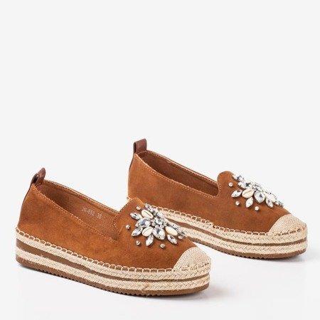 Коричневі еспадрилі на платформі зі стразами Mraque - Взуття 1