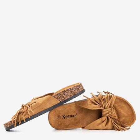 Коричневі жіночі тапочки з бахромою Amassa - Взуття