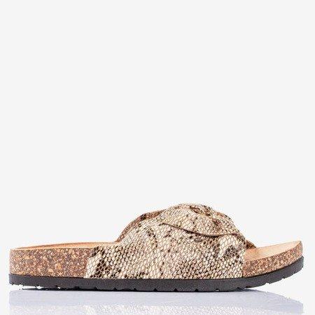 Коричневі жіночі шльопанці з луковою зміїною шкірою Сонце - Взуття 1