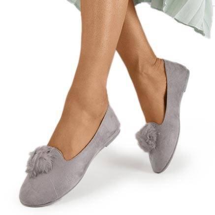 Культ сірий балерин з помпоном - Взуття