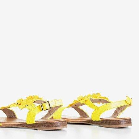 Неонові жовті жіночі босоніжки з квітами Madlen - Взуття