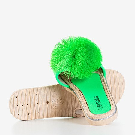 Неонові зелені тапочки Talvika з помпоном - Взуття