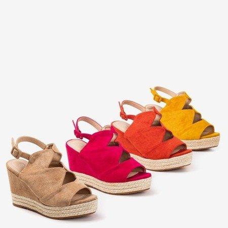 Оранжеві жіночі босоніжки на клині Орса - Взуття 1