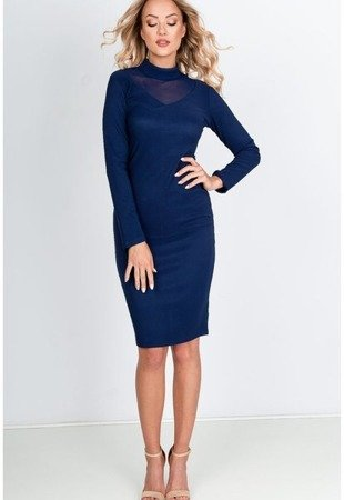 Плаття темно-синього міді з прозорою вставкою - Одяг