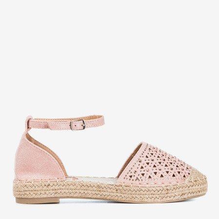 Світло-рожеві жіночі еспадрилі з ажурним декором Clia - Взуття 1