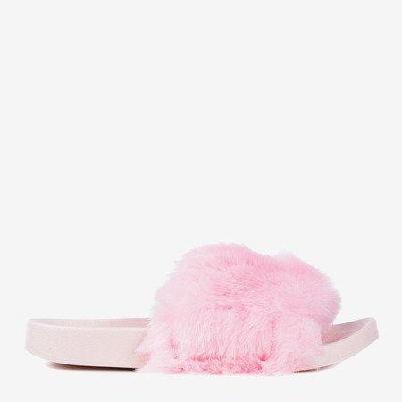 Світло-рожеві шльопанці з хутром Bonum - Взуття 1