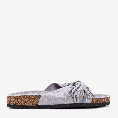 Світло-сірі жіночі тапочки з бахромою Amassa - Взуття