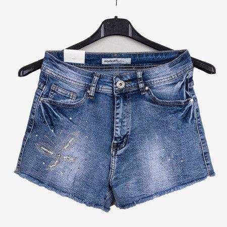 Сині джинсові шорти з високою талією - Одяг