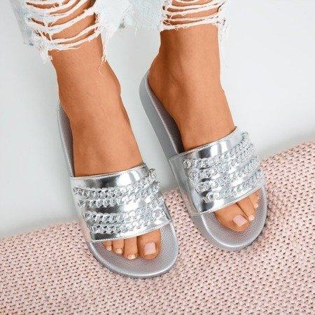 Срібні тапочки з ланцюжком Slivien - Взуття