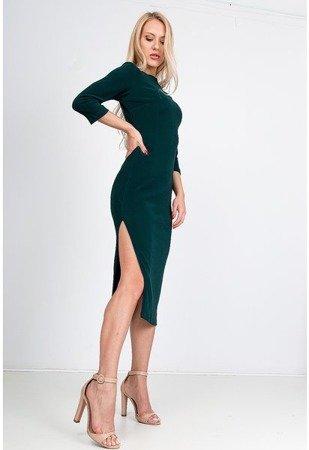 Темно-зелене обтягуюче плаття-міді - Одяг 1