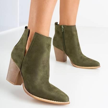 Темно-зелені ботильйони на підборах Mevelyno - Взуття