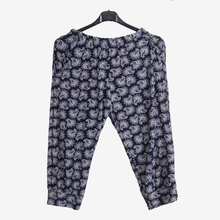 Темно-сині візерункові жіночі штани типу штанів - Штани 1