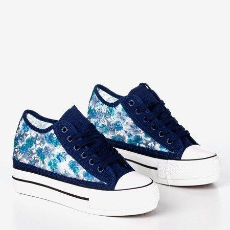Темно-сині жіночі мереживні кросівки на прихованому клині Flovita - Взуття 1