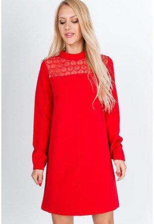 Червоне міні-плаття з мереживом - Одяг