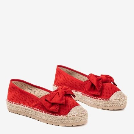 Червоні ажурні еспадриси на платформі з бантом Mimilla - Взуття 1