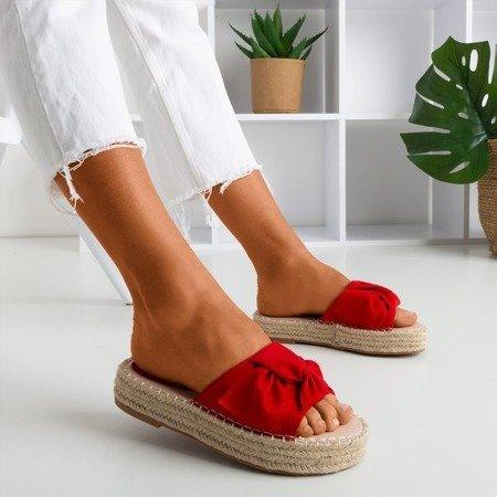 Червоні жіночі тапочки на платформі Baby Bow - Взуття 1