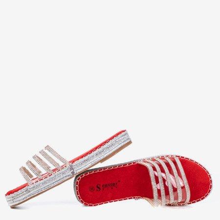 Червоні прозорі тапочки з фіанітом Noumeia - Взуття