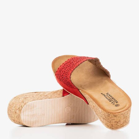 Червоні шльопанці на клині Botti - Взуття 1