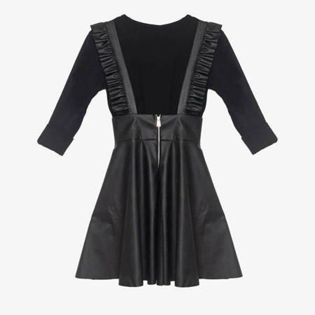 Чорна спідниця з екошкіри з довгими рукавами - Одяг