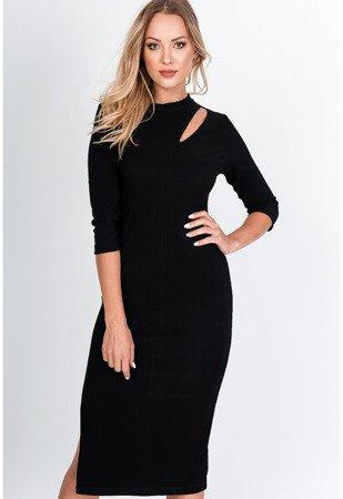 Чорне обтягуюче плаття-міді - Одяг