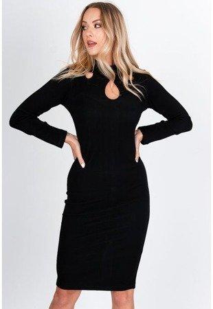 Чорне плаття міді з вирізами - Одяг