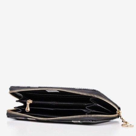 Чорний лакований жіночий гаманець з принтом - Гаманець 1